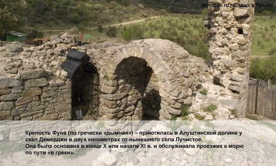 Крепость Фуна (по гречески «дымная») – приютилась в Алуштинской долине у скал Демерджи в двух километрах от нынешнего села Лучистое. Она была основана в конце Х или начале XI в. и обслуживала проезжих к морю по пути «в греки».