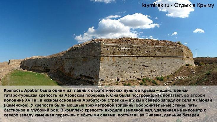 Крепость Арабат была одним из главных стратегических пунктов Крыма – единственная татаро-турецкая крепость на Азовском побережье. Она была построена, как полагают, во второй половине XVII в., в южном основании Арабатской стрелки – в 2 км к северо западу от села Ак Монай (Каменское). У крепости были мощные трехметровой толщины оборонительные стены, пять бастионов и глубокий ров. В комплекс крепости входили земляной вал, удаленная на километр к северо западу каменная пересыпь с вбитыми сваями, достигавшая Сиваша, дальние батареи.