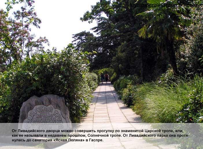 От Ливадийского дворца можно совершить прогулку по знаменитой Царской тропе, или, как ее называли в недавнем прошлом, Солнечной тропе. От Ливадийского парка она протянулась до санатория «Ясная Поляна» в Гаспре.