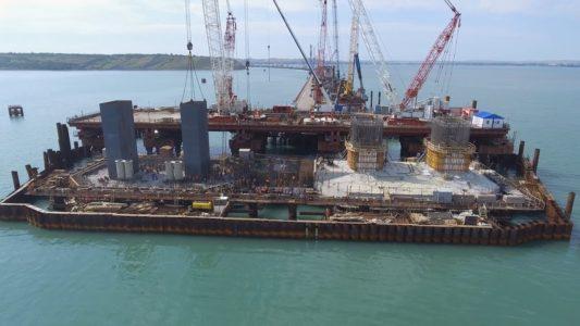 Крымский мост: Возведение фарватерных опор