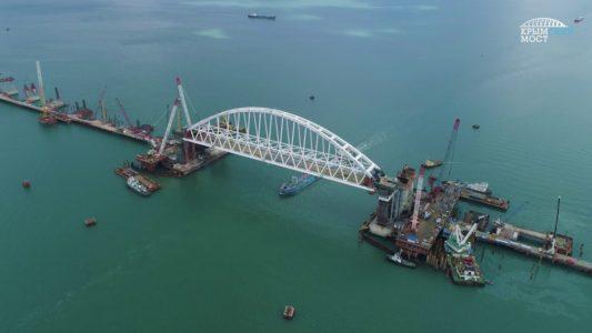 Сентябрь 2017: железнодорожная арка Крымского моста